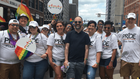 Comcast employees marching at Pittsburgh Pride parade