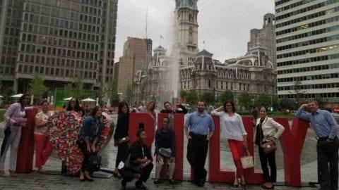 Comcast employees at a Philadelphia City park.